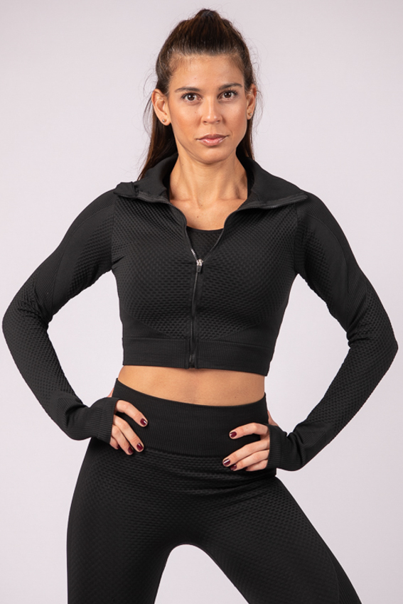 Powerful Crop Jacket – Midnight Black
