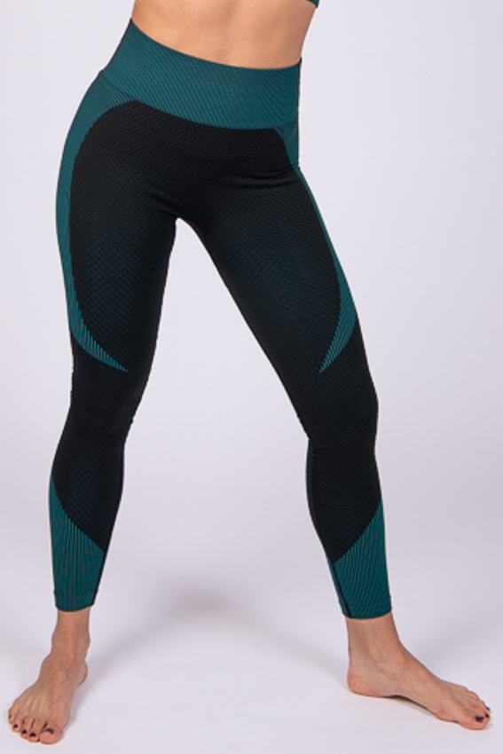 High-Waist Powerful Legging – Black/Aqua