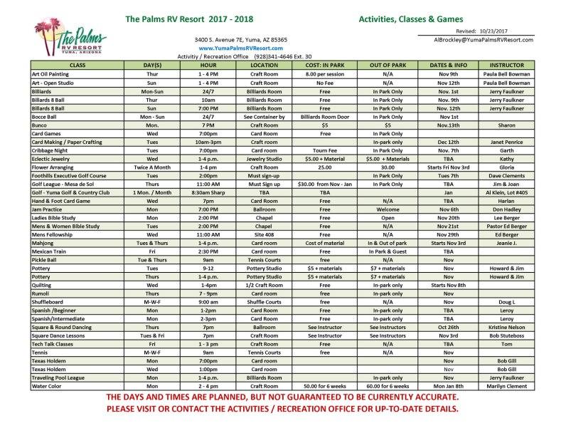 Activities & Rec Schedule 102317