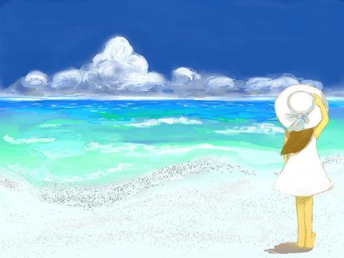 浜辺で裸足