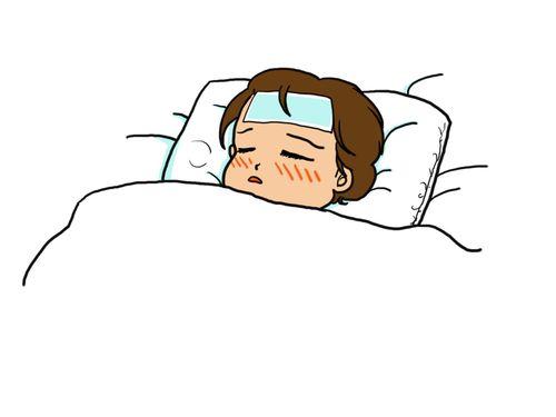 熱で寝込む人