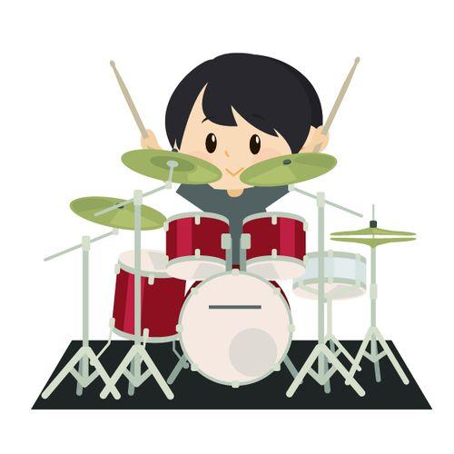 ドラムをたたく