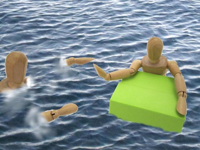 溺れている人を助ける