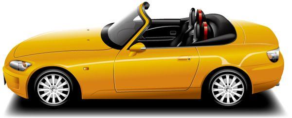 オープンカーを運転する