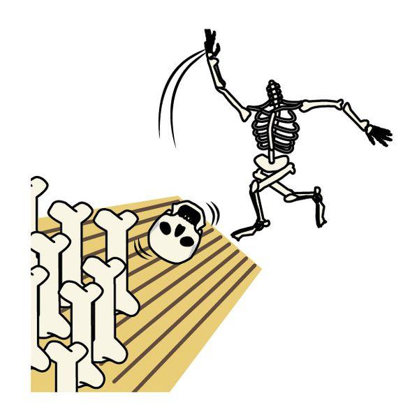 骸骨が散らばっている