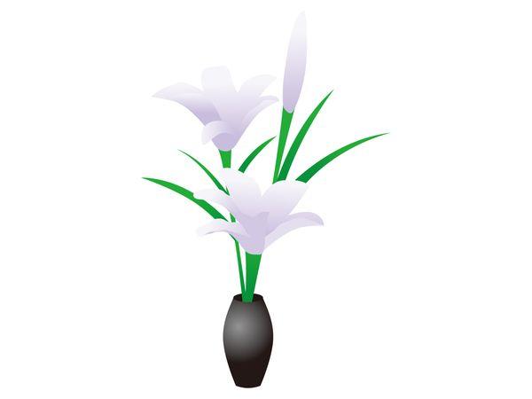 ユリの花を飾る