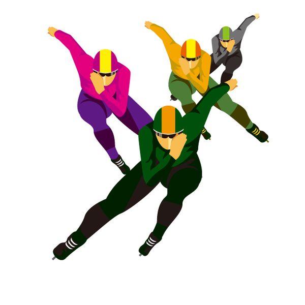 スケート選手が滑るのを見る