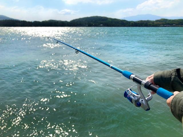 海で魚を釣る