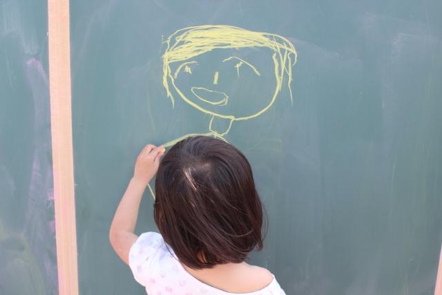 黒板に落書きをする