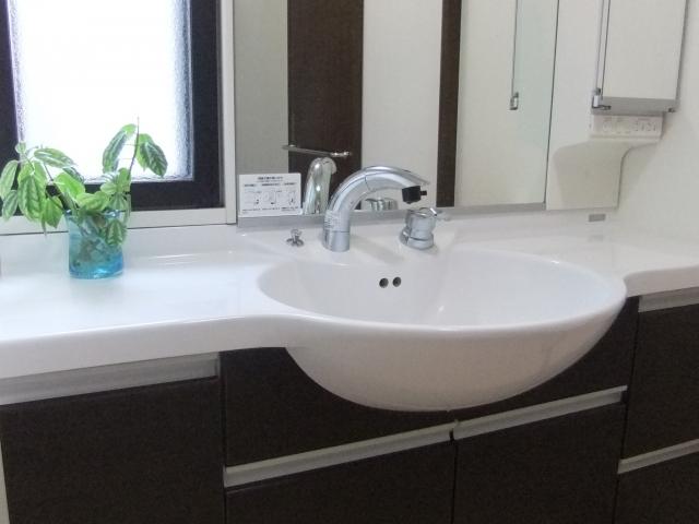 洗面所で手を洗う