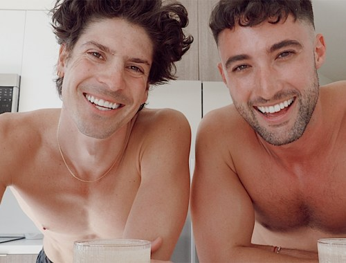 Chris Lin and Brock of yummertime morning routine vlog on YouTube shirtless in their kitchen