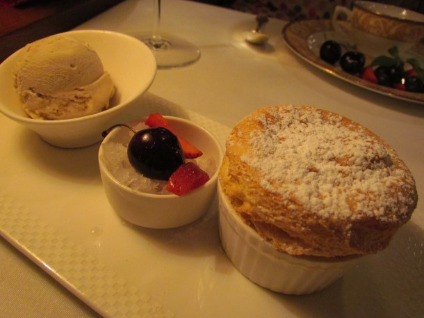 Apple crumble soufflé, Cinnamon ice cream & Calvados granita.