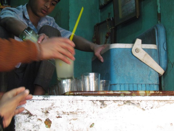 Drink being prepared on the 'top level'