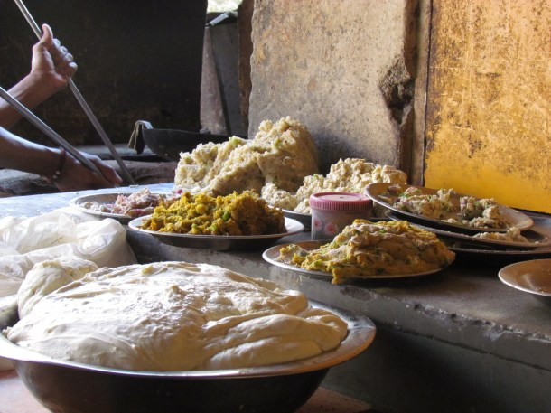 Filling of different kinds of Paranthas kept in the kitchen