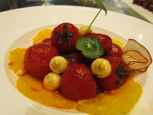 Another shot - Poached tomatoes with orange, lotus fruit & apple slices.