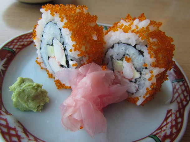 california rolls - prawns within & topped with flying fish roe