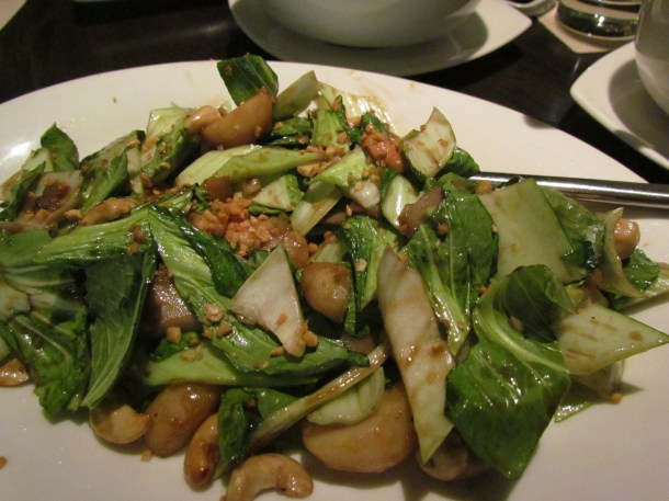Braised water chestnut with pakchoy , bamboo shoots & roasted cashew nuts