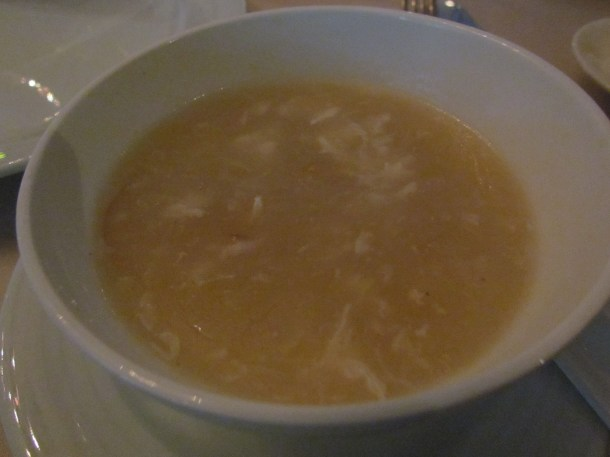 Crabmeat and onion soup