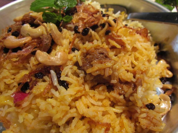 close up of 'Mutton Berry pulao