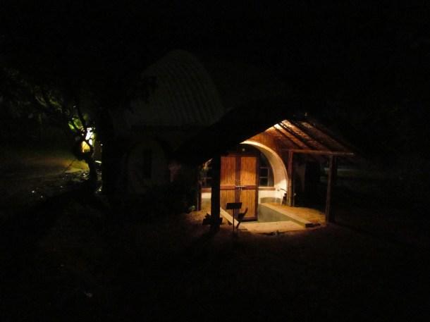 The hut right near the gate