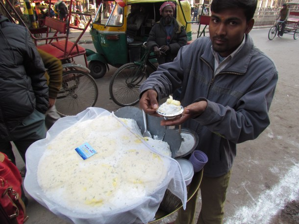 The big container with the white chaat base
