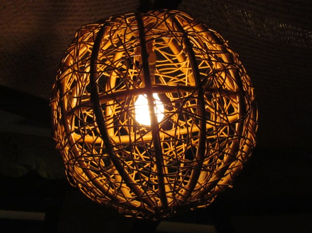 Beautiful lamp shades inside the houseboat shaped dining area
