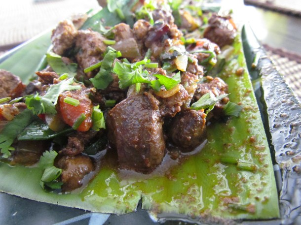 Chicken liver sauteed in North East Spices