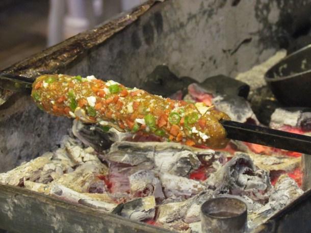 Mutton gilafi kabab being made