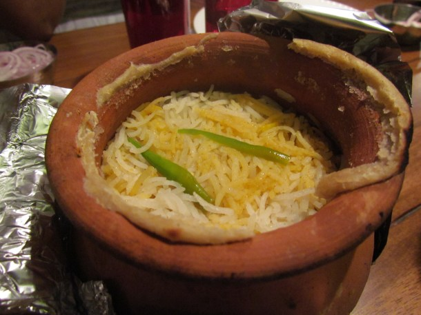 Mutton Dum Biryani - just after opening the lid