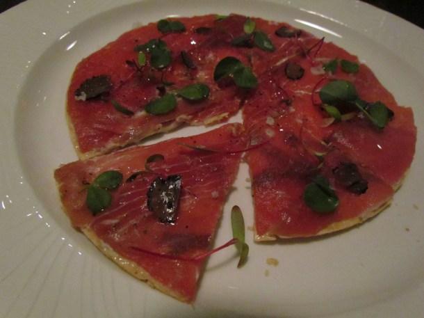 Tuna pizza with ponzu mayo, shiso, truffles