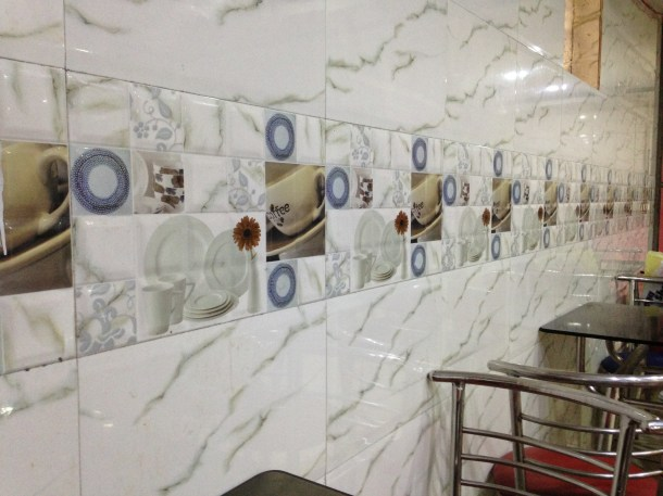 A section of the wall in the restaurant - they do not sell coffee though