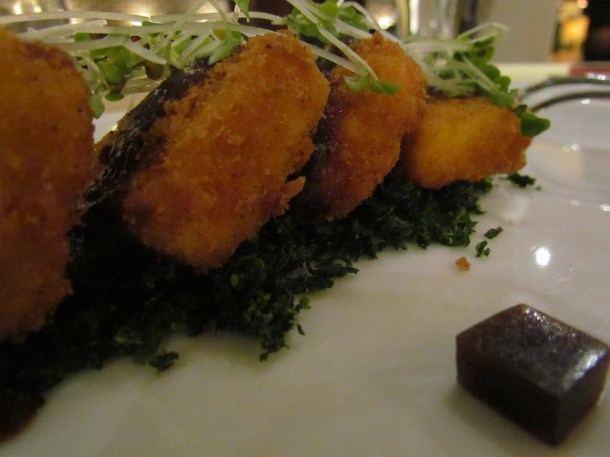 tamarind jelly cuboid & Herbed tofu dehydrated spinach