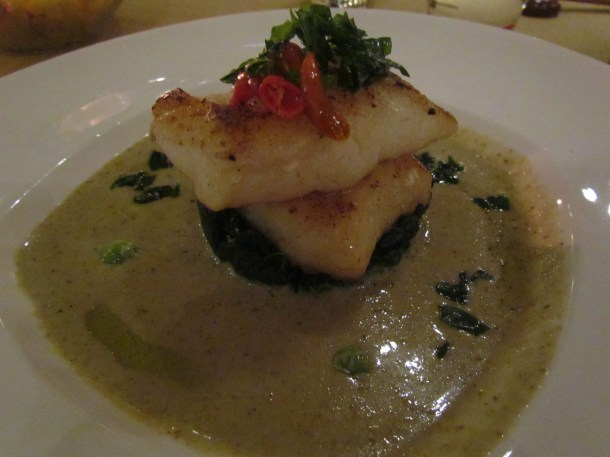 Sous vide Chilean sea bass green curry broth