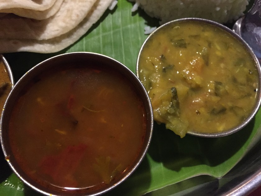 rasam (left) & daal (right)