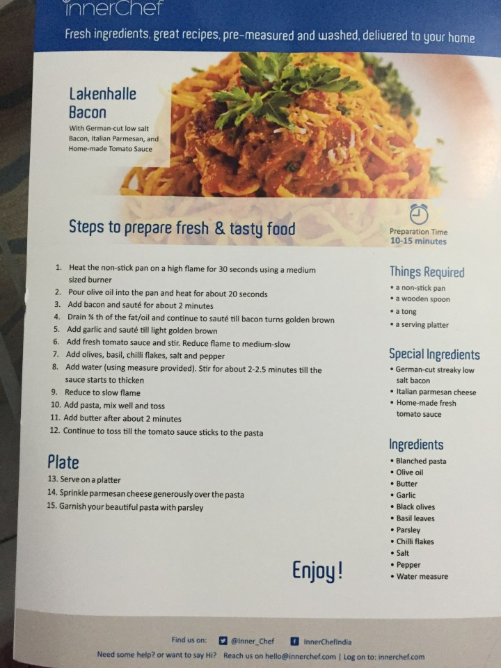 menu of the pasta