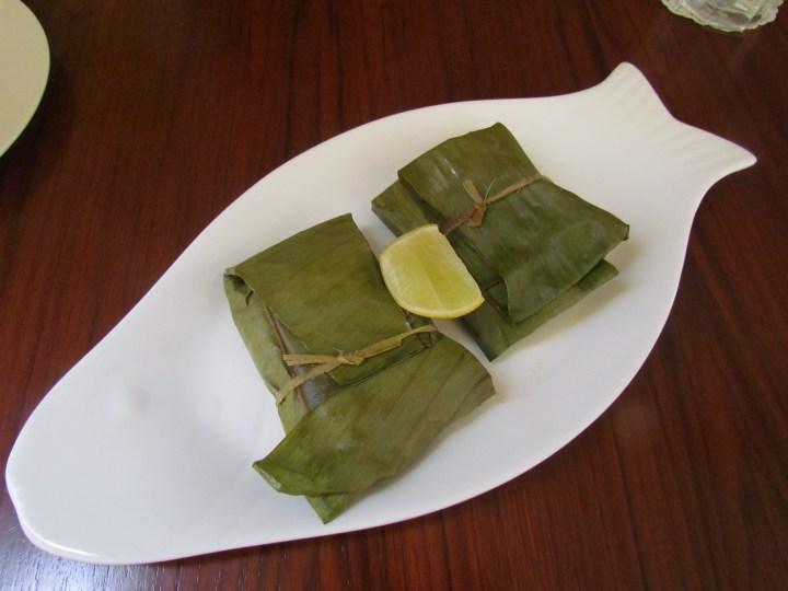 Patrani macchi served in a fish shaped dish