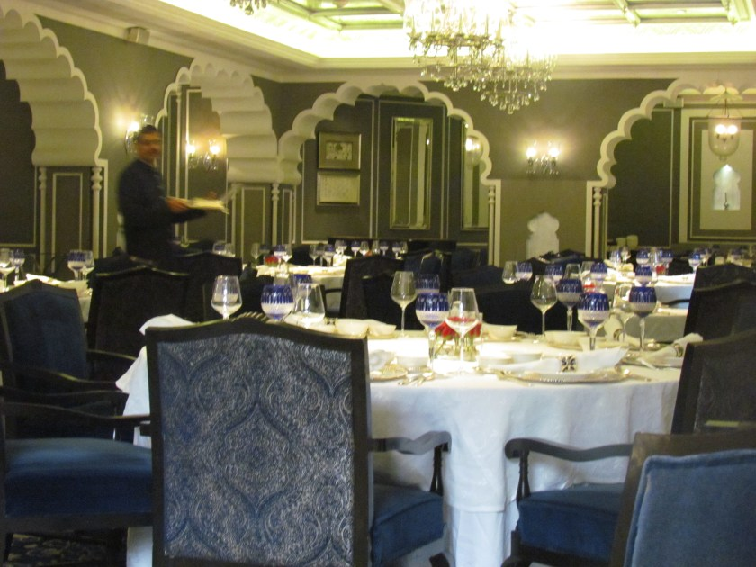 arched pillars and chandeliers