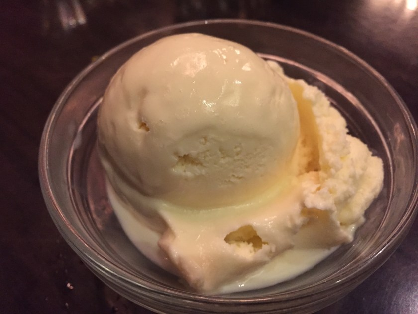 Vanilla ice cream served with L'orange