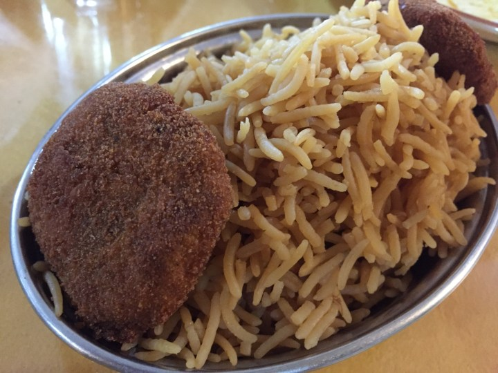 Brown rice and kebab