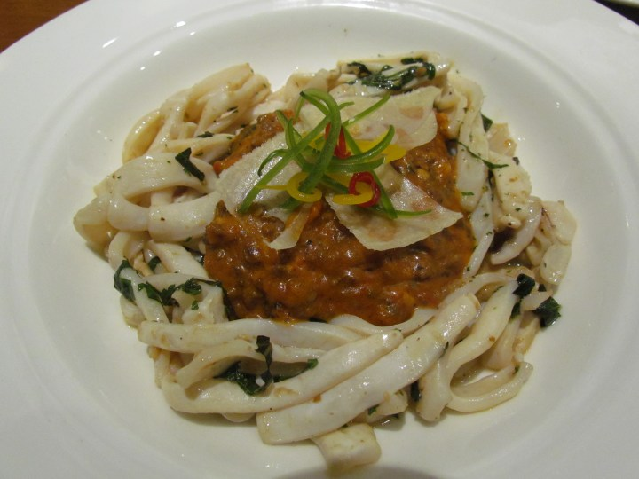 Squid bolognaise, fine herb buttered squid served with a rich tenderloin bolognaise