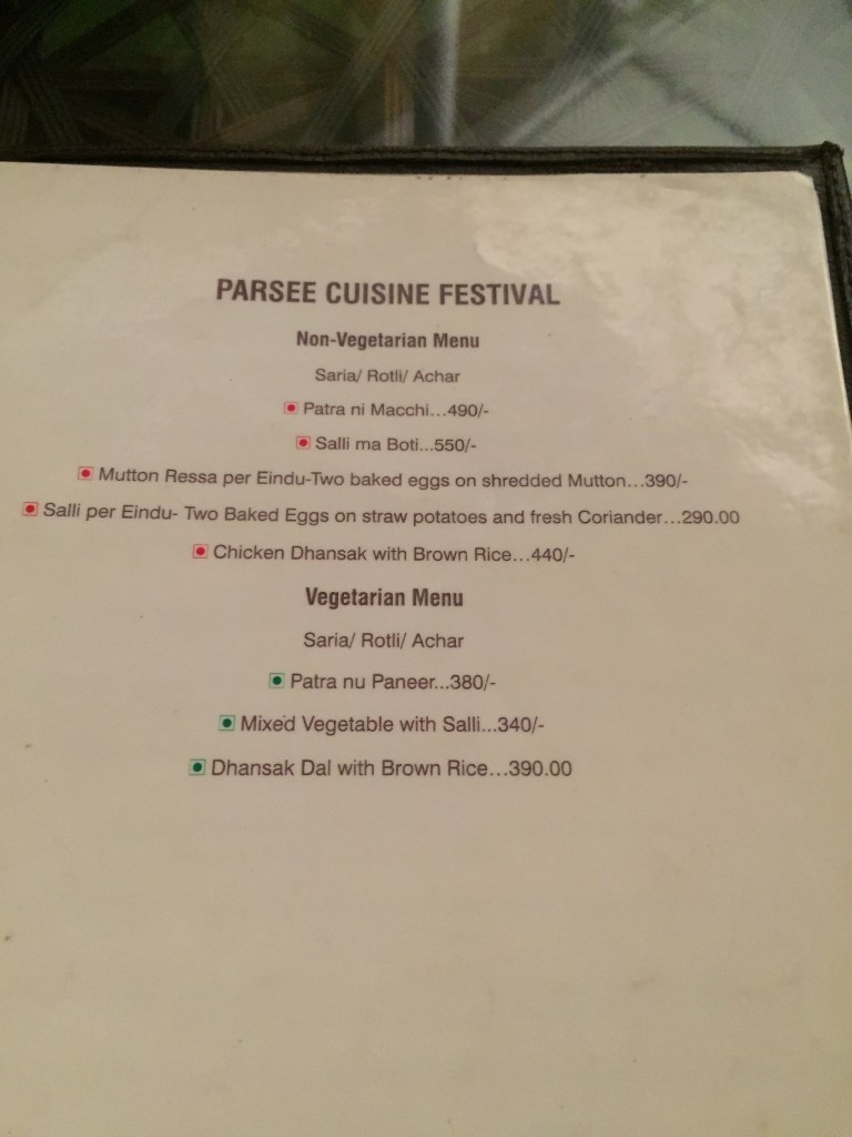 parsi menu section