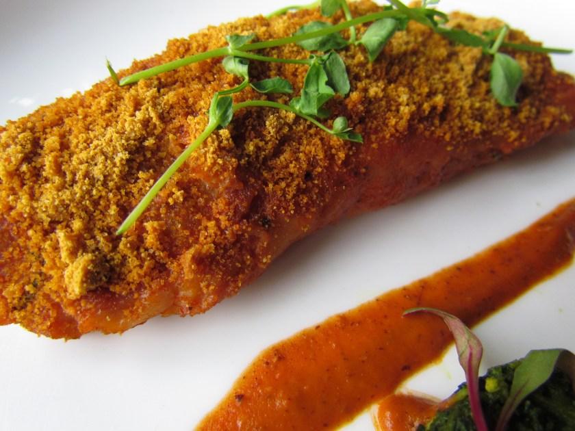 PAN seared rawas, crab and spinach poriyal, malay curry