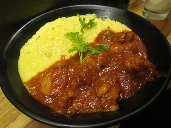 Pork belly vindaloo and sticky rice cooked in coconut milk