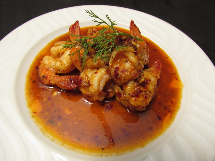 Spicy prawn in port wine