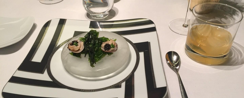 restaurante abac Almejas con Caviar, Lima y Mantequilla de mar