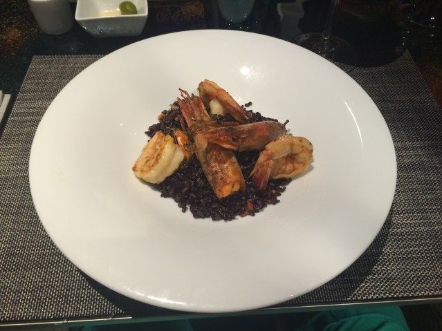 Arroz verene con Gambas de Palamós Occi Restaurant