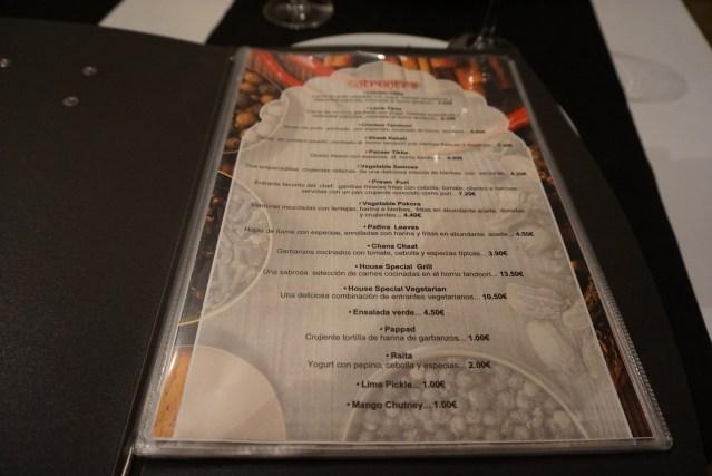 carta del restaurante sitar
