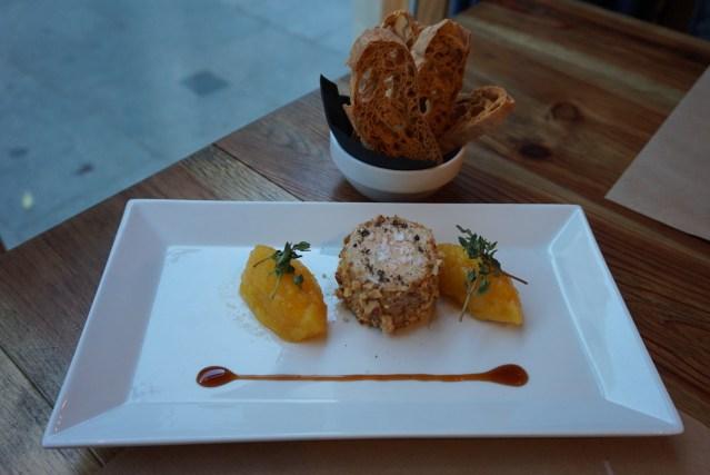 el catala restaurant Foie Mi-cuit, compota de mango, frutos secos