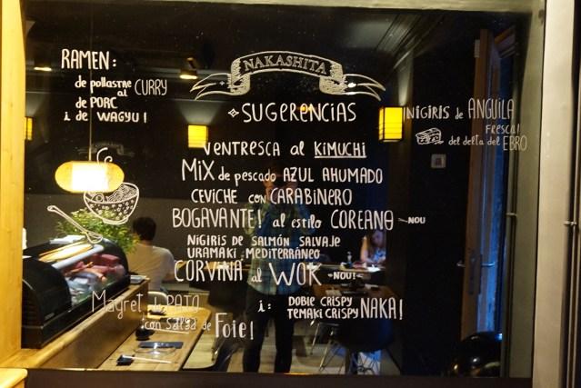 Carta y Menu Nakashita restaurante