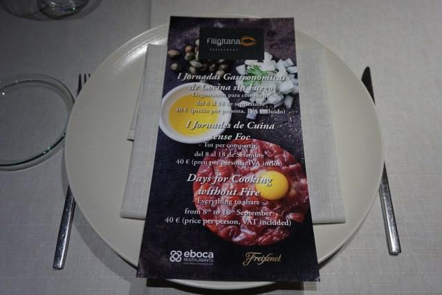 Restaurante Filigrana Primeras Jornadas Gastronómicas de Cocina sin Fuego